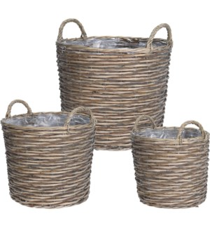 430000060-Lined Baskets, Willow, Set/3