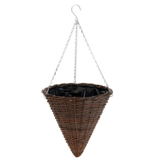 437000760-Coned Hanging Lined Basket, Willow 12x19 inch
