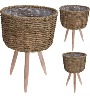437300200-Flower Pot Baskets, Set/2, Seagrass (Sml 10x7x13/ Lg: 12x8x17 in)