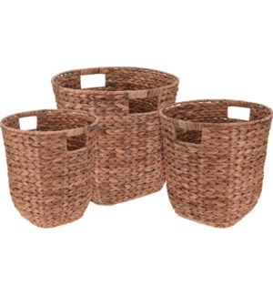 449000620-Round Baskets Set/3, Water Hyacinth (Sml:12x14 /Med:13x13/ Lg:15x14 in)