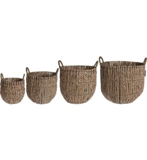 """NB1300170-Hill Storage Baskets Set/4, (Sml 9.5x9.5, Med 12x12, Lg 14x13, XLg 16.5x15 in)"""