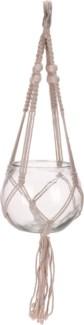 HZ1300210-Macrame Hanging Glass Bowl, M, Natural, 6x6x5 in
