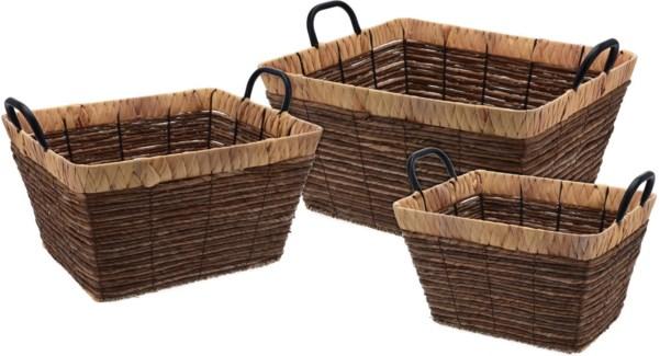 449000500. Basket Set/3 Metal Handles Willow Rattan Rect. 48x40x24cm. 42x34x23cm. 36x28x21cm. (units