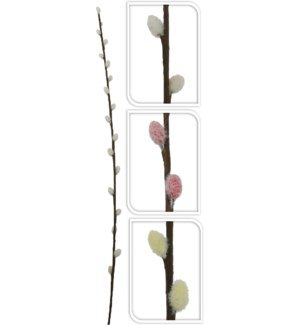 318800010-Artificial Willow Branches, 3Asst (white/cream/pink) 30 inch