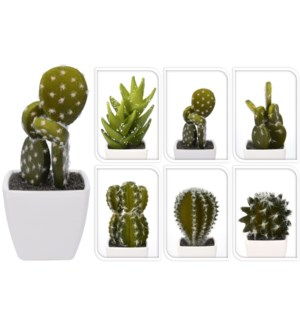 319000010 Cactus Plant Pot 6 Assorted Designs, 2.1x2.1x1.9 Last Chance