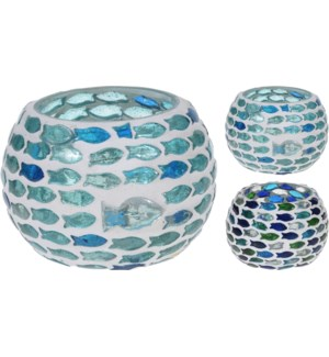 A44321390-Fish Mosaic Tealight, M, 2/Asst, Glass, 3x3 in