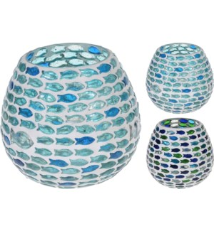 A44321400-Fish Mosaic Tealight, L, 2/Asst, Glass, 4x4 in