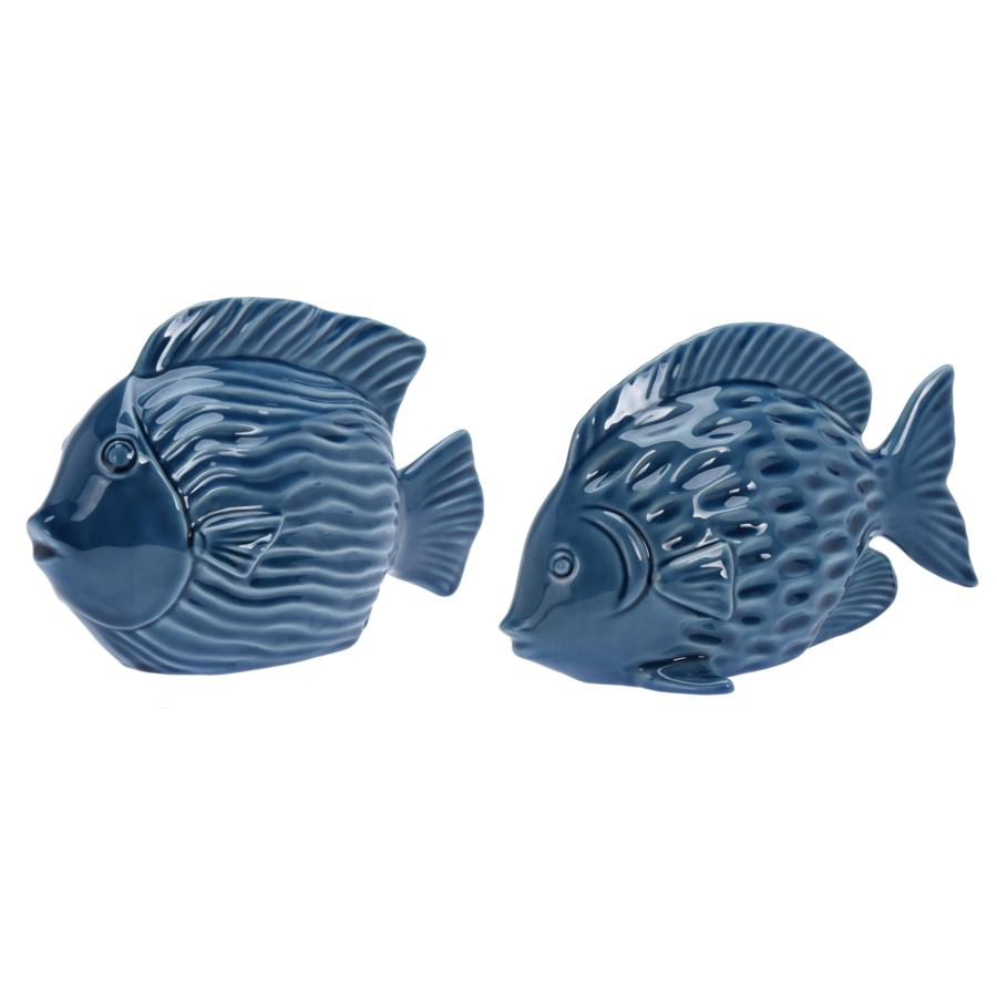 ALX116060-Decorative Fish, 2/Asst, L, Blue, Dolomite, A: 9.5x4x6 & B: 9.5x4x5.5 in