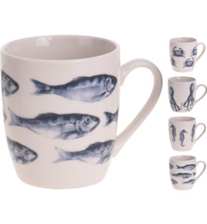 Q75101050-Aquatic 7 oz Mug, 4/Asst, New Bone Porcelain, 3.9x3x3.3 in