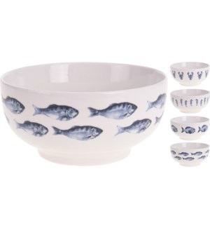 """Q75101070-Aquatic Bowl, 4/Asst, New Bone Porcelain, 5.5x2.8 in"""