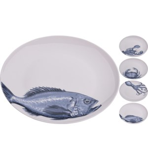 """Q75101090-Aquatic L Plate 4/Asst, New Bone Porcelain, 10x10x.4 in"""