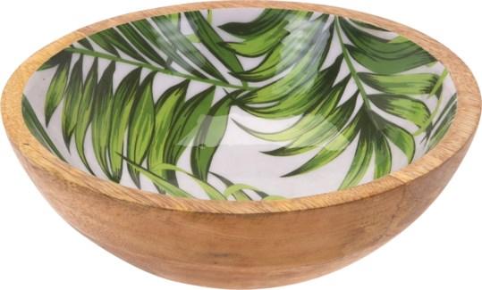 A44320430-Isla Leaf Bowl, S, Mango w/Enamel Print, 8x8x2.6 in