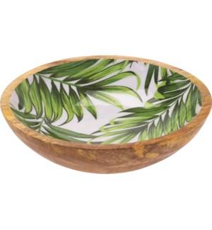 A44320440-Isla Leaf Bowl, M, Mango w/Enamel Print, 9.5x9.5x2.75 in