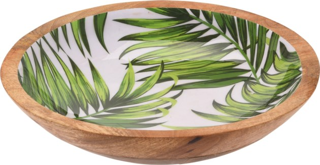 A44320450-Isla Leaf Bowl, L, Mango w/Enamel Print, 12x12x2.8 in