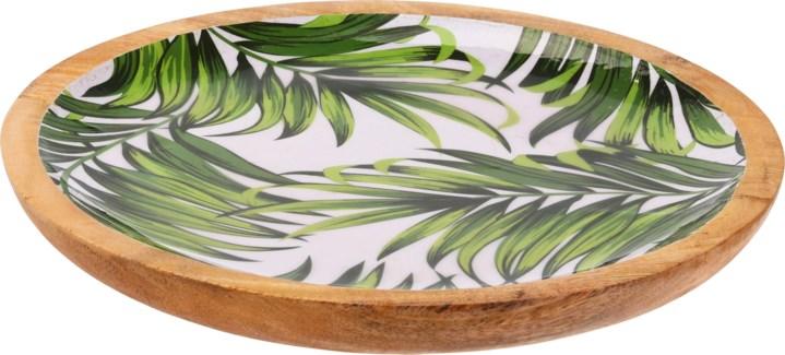 A44320480-Isla Leaf Round Tray, M, Mango w/Enamel Print, 11.8x.8 in