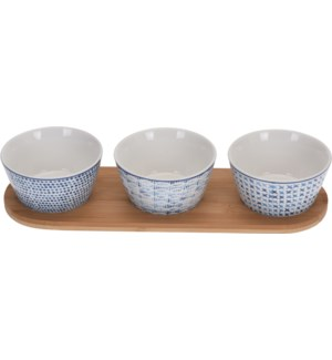 Indigo Bowl set/3, Stoneware & Bamboo Plate, 13x4x2 in On sale 30 percent off!