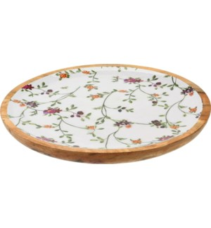 A44320360 Flower Print Wood Bowl Large, Mango Wood, 15x0.8 in.