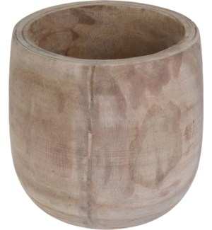CAZ102010-Wooden Pot, 10.5 in, Paulownia Wood