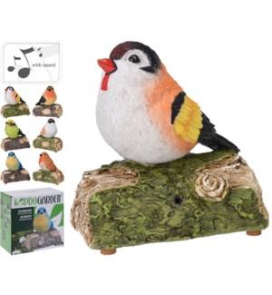 252718450 Chirping Bird On Branch, Polystone