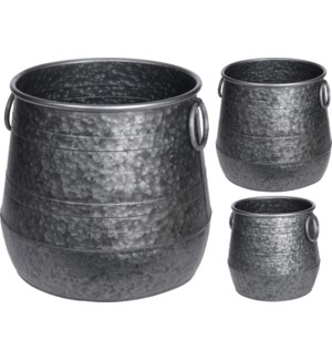 """FZ1000110 Flower Pot With Handle Set of 2, Metal,"""