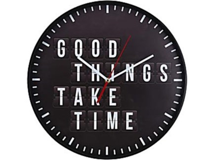 C37568340 Good Things Take Time Clock, Black, 14 D -*Last Chance* FD
