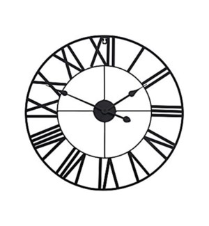 HZ1006800 Roman Numeral Metal Wall Clock, Black, 22  D