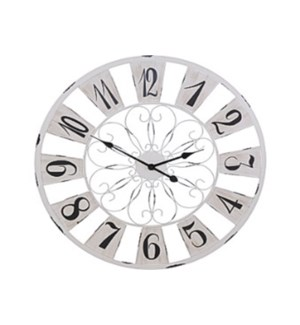 HZ1700120 French Country Wall Clock, Antique White, 29.5 in - *LAST CHANCE*