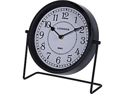 NB1401120 Metal Table Clock, Black, 8 D