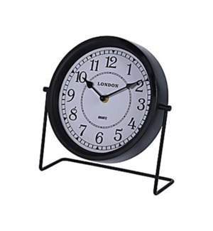NB1401120 Metal Table Clock, Black, 8 D