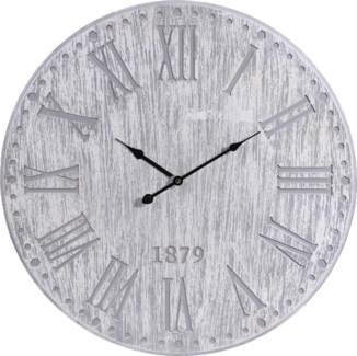 Y36200260 Roman Numeral Grey Wash Clock, 23.5D in, Wood,