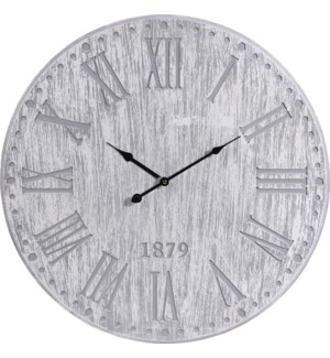 Y36200260 Roman Numeral Grey Wash Clock, 23.5D in, Wood,