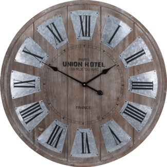 Y36200320  Union Hotel Roman Numeral Clock, Brown, 31.5 D