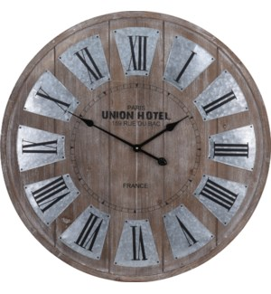 Y36200320  Union Hotel Roman Numeral Clock, Brown, 31.5 D