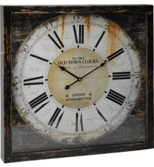 Y36400370 Antique Old Town Roman Numeral Clock, 19.7x19.7x2.4