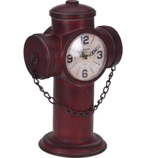 """Y36400510-Fire Hydrant Table Clock, 8.5x6x12.5 inch"""