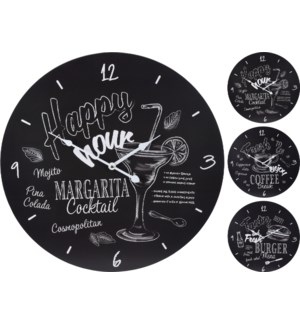 """Y36901090-Bistro 20 Clock, 3 Asst, Black/White"""