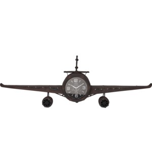 KLM000020 Airplane Clock Black, Metal,