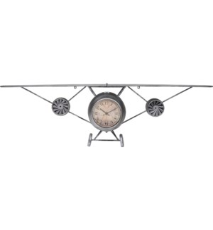 KLM000040 Airplane Clock Silver, Metal,