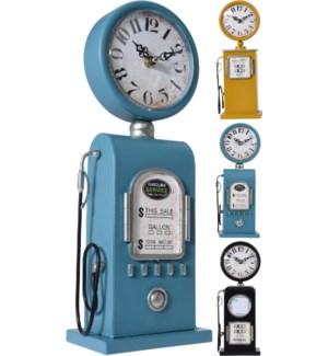 Table Clock Iron Petrol Pump. 3Ass Colours.1Xaa Not Incl.
