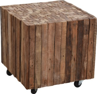J11300690 Reclaimed Wood Side Table, 15.7x15.7x15.7 in.