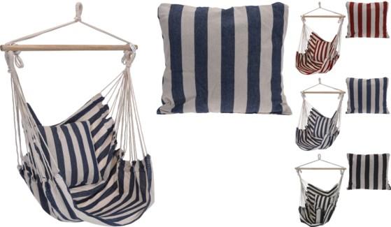 X28000140  Striped Hammock w/ Cushion 2Assorted (blk/wht & blue/wht), 39x47 in.
