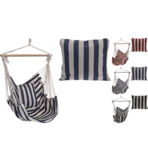 X28000140  Striped Hammock w/ Cushion 3Assorted (blk/wht, blue/wht, red/wht), 39x47 in.