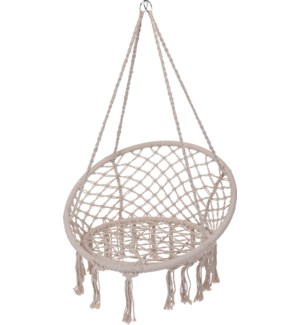 X39500320 Boho Hanging Chair, Cream, Back 31.5D, Bottom 24D in
