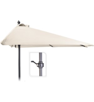 X61211130 Half Round Balcony Umbrella, Cream, 98.4 in.