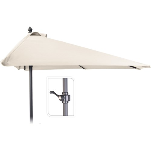 """X61211130 Half Round Balcony Umbrella, Cream, 98.4 in."""