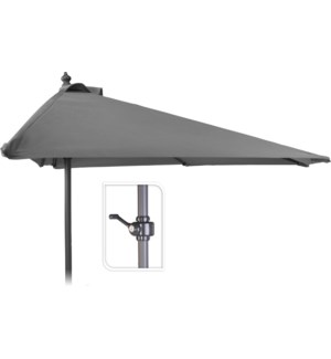 X61211120 Half Round Balcony Umbrella, Light Grey, 98.4 in.
