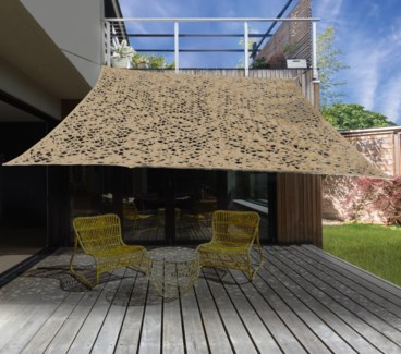 X61500210 Dappled Shade Square Patio Cover, Sand 118x118 in