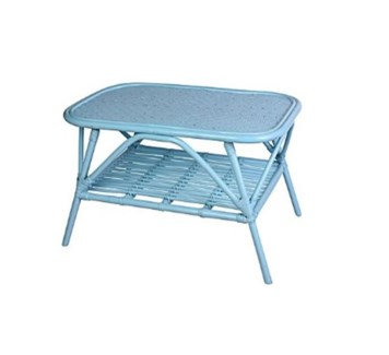 J09151570 Rotan Table, Turquoise, 31.5x19.7x17.7 Inches