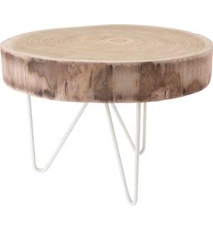 """CAZ100200 Round Wood Table, Paulownia Wood, 16.9 x 11.8 Inch"""