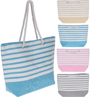 """C87000010 STRIPED BEACH BAG, 4ASST, SIZE 52X38X1"""